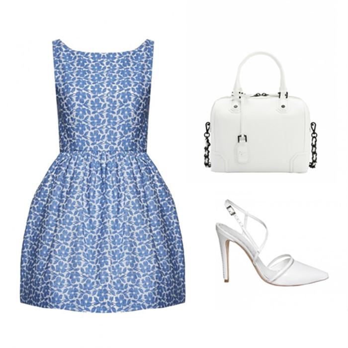白底蓝色小花刺绣连衣裙+白色链条手提包+白色尖头